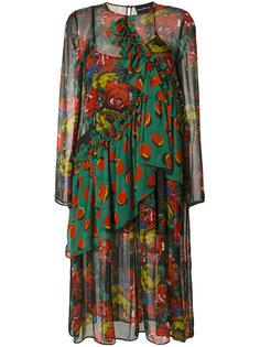 платье с цветочным принтом и оборкой  Marco Bologna