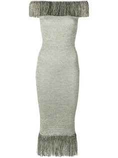 платье металлик с бахромой  Christopher Kane