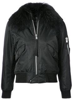 куртка-бомбер с отделкой из меха енота Sam.