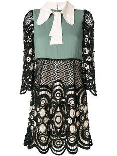 кружевное платье дизайна колор-блок Chloé