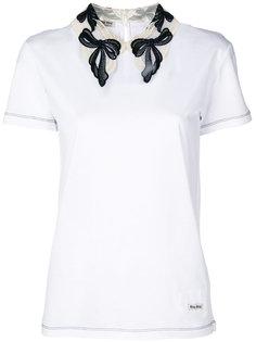 футболка с кружевным воротником  Miu Miu