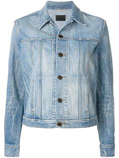 джинсовая куртка с котом и мартини Saint Laurent
