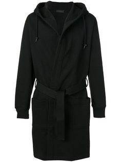 пальто с капюшоном и поясом Diesel Black Gold