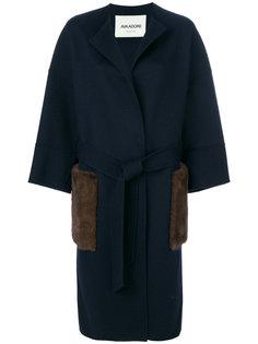 однобортное пальто с отделкой на карманах Ava Adore