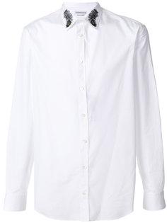 рубашка с вышивкой павлиньих перьев Alexander McQueen