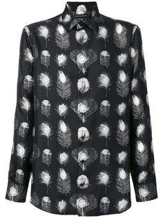 рубашка с принтом павлиньих перьев Alexander McQueen