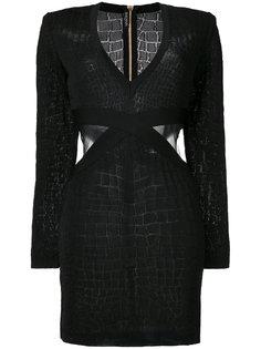 платье с вырезными деталями Balmain