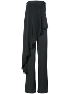 satin crepe jumpsuit with asymmetrical detail Adam Lippes