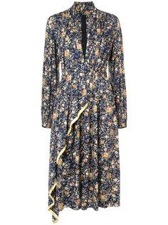 асимметричное платье с цветочным принтом Adam Lippes
