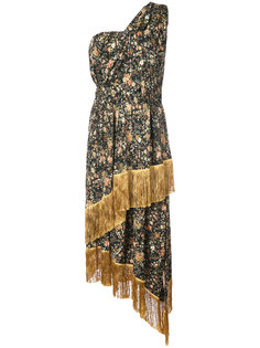 Floral printed silk one shoulder dress with scarf detail Adam Lippes