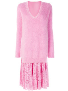 платье-джемпер с V-образным вырезом и кружевной вставкой  Nº21