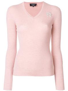 пуловер с V-образным вырезом с ребристой фактурой Rochas