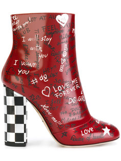 ботинки по щиколотку на контрастном каблуке Dolce & Gabbana