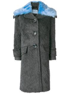 пальто с меховым воротником Prada