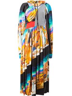 плиссированное платье со смешанным принтом Aalto
