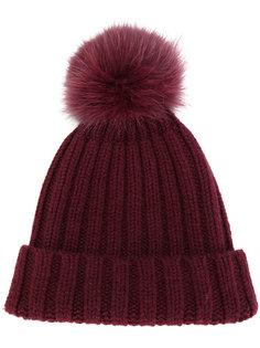 шапка-бини с помпоном из лисьего меха Danielapi
