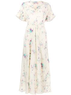 платье миди с V-образным вырезом и цветочным принтом  Miu Miu