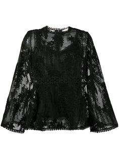 прозрачная блузка с цветочной вышивкой Zimmermann