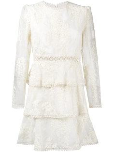 платье с цветочной вышивкой и прозрачными рукавами Zimmermann
