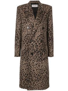 пальто с леопардовым узором Saint Laurent