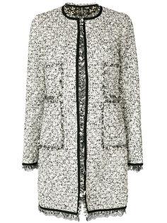 твидовое пальто с кружевной отделкой  Giambattista Valli