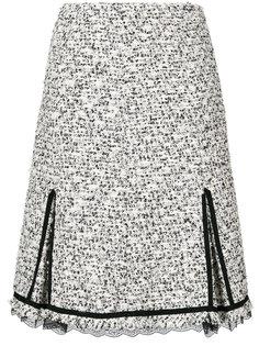 твидовая юбка с кружевной отделкой  Giambattista Valli