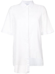 semi sheer asymmetric short sleeve shirt Kimora Lee Simmons