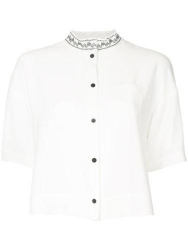 рубашка с вышивкой на воротнике  Taro Horiuchi