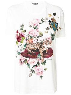 футболка с принтом и аппликациями Dolce & Gabbana