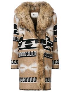 пальто с принтом и воротником из искусственного меха  Bazar Deluxe