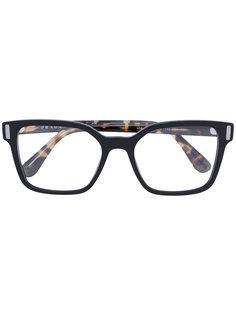 квадратные очки с полосатыми дужками Prada Eyewear