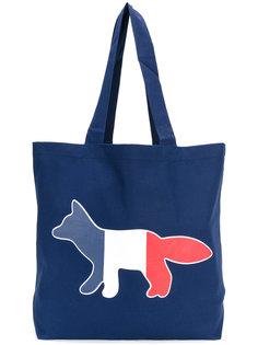сумка-тоут с трехцветным изображением лисы Maison Kitsuné