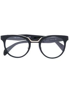 круглые очки с цветочным декором Prada Eyewear