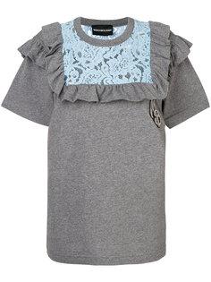 футболка с кружевной вставкой и рюшами Marco Bologna