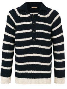 свитер в полоску с воротником на пуговицах Nuur