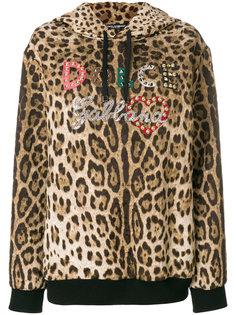 толстовка с капюшоном с леопардовым принтом Dolce & Gabbana