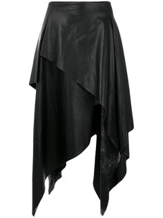 кожаная юбка асимметричного кроя Joshua Millard