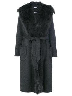длинное пальто с лисьим мехом P.A.R.O.S.H.