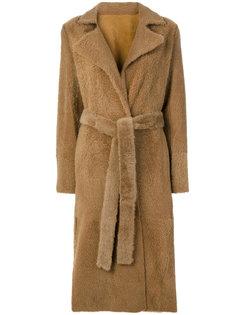 строгое пальто с поясом  Yves Salomon