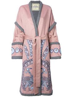пальто с запахом с вышивкой Peacock Yuliya Magdych