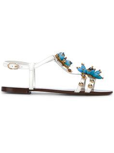 сандалии с цветочными деталями Dolce & Gabbana