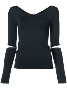 v-neck cut out sleeve top Helmut Lang