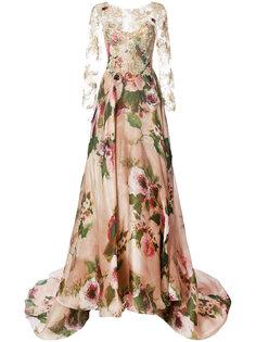 вечернее платье с кружевными рукавами Marchesa