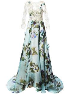 вечернее платье с кружевной вставкой Marchesa