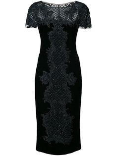 приталенное платье с вышивкой из бисера Marchesa
