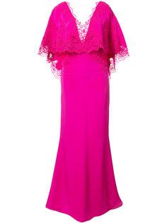 платье с рукавами в стиле накидки Marchesa