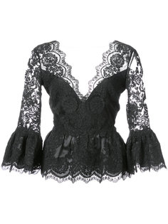 кружевная блузка с баской Marchesa