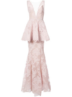 кружевное платье в пол с баской Marchesa