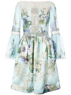 платье с цветами и кружевными вставками Marchesa