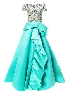 вечернее платье с расшитым бисером топом Marchesa